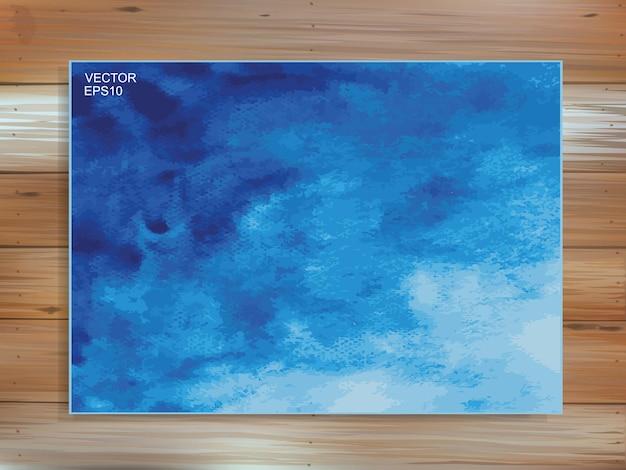 Fondo blu astratto della spazzola dell'acquerello su legno. modello di tratto di pennello e idea di trama. illustrazione vettoriale.