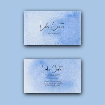 Modello di biglietto da visita dell'acquerello blu astratto