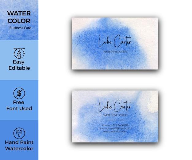 Biglietto da visita blu astratto dell'acquerello