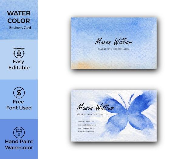 Modello di biglietto da visita aziendale di struttura dell'acquerello blu astratto