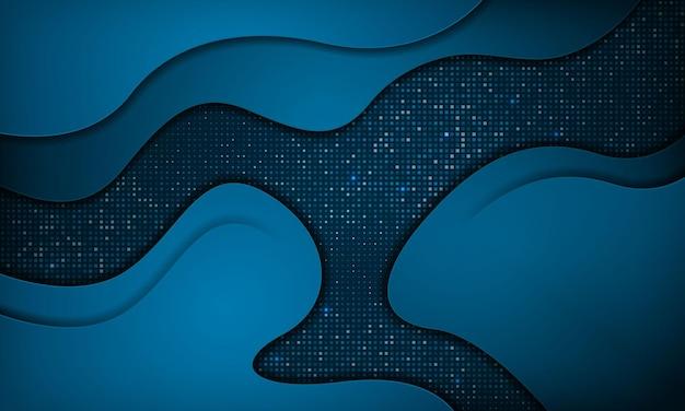 Fondo di strati di sovrapposizione di lusso dell'onda blu astratta stile di carta moderno con effetto scintillante