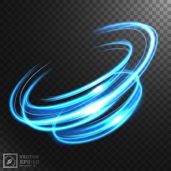 Linea ondulata blu astratta di luce con uno sfondo trasparente, illustrazione isolata