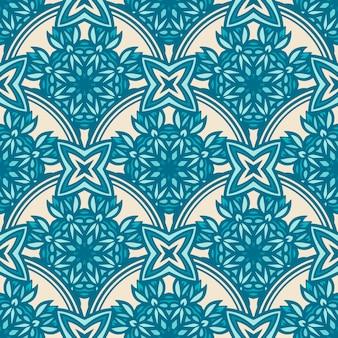 Reticolo di arte di doodle ornamentale senza giunte delle mattonelle disegnate a mano blu e bianco astratto