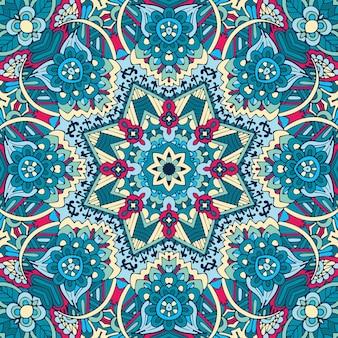 Astratto blu e bianco disegnato a mano piastrella acquerello ornamentale senza giunte modello di vernice.