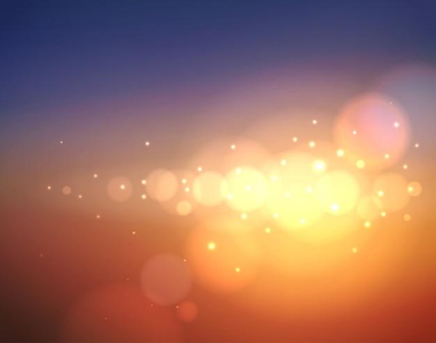 Astratto sfondo sfocato con riflesso lente, luce vivida del sole e bokeh