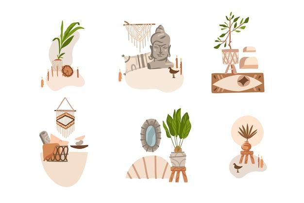 Illustrazione astratta clipart bohémien con interni, scene di soggiorno con mobili moderni