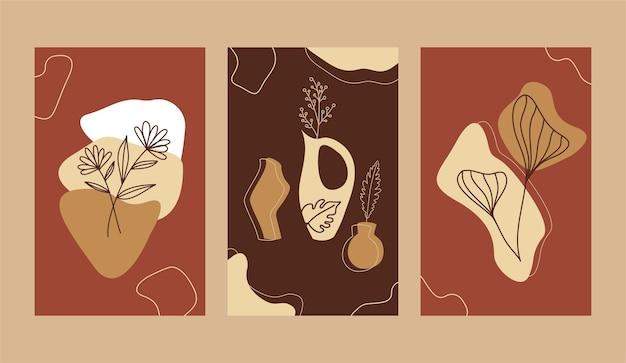 Manifesto botanico boho astratto. poster di astrazione vegetale forme organiche