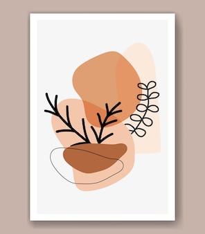 Il vettore di arte della linea di tiraggio della mano floreale boho astratto lascia lo sfondo