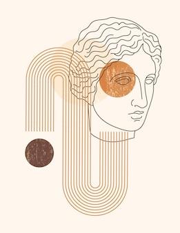 Illustrazione astratta di boho con la scultura antica della musa in uno stile alla moda della fodera minima. sfondo contemporaneo vettoriale in colori neutri per poster, stampa di t-shirt, copertina, storie di social media