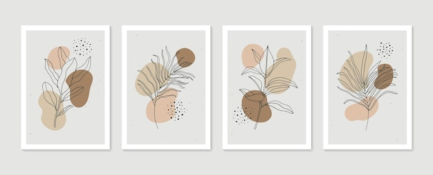 Set di quadri botanici astratti collezione di poster di arte contemporanea arte murale minimal e naturale