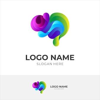 Logo astratto del cervello con melodia, stile colorato 3d