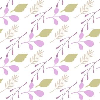 Rami astratti e foglie modello senza soluzione di continuità su sfondo bianco. sfondo vettoriale in stile piatto per copertine tessili o di libri, sfondi, design, arte grafica, confezionamento