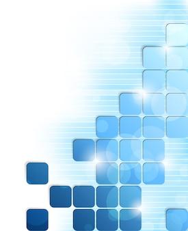 Fondo luminoso astratto con quadrati e strisce blu. illustrazione