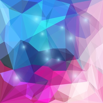 Astratto sfondo geometrico triangolare vettoriale poligonale colorato blu brillante e rosa con luci abbaglianti da utilizzare nel design per biglietti, inviti, poster, striscioni, cartelloni o copertine per cartelloni pubblicitari