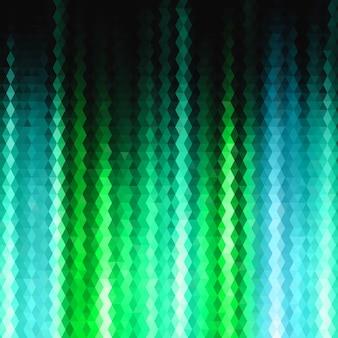 Astratto colorato brillante poligonale triangolare verde e blu raggi sfondo per l'uso nel design per la carta, invito, poster, banner, cartellone o copertura cartellone