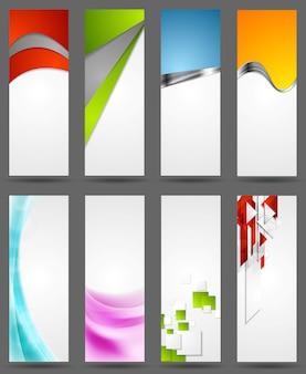 Insegne verticali corporative luminose astratte. illustrazione vettoriale con onde, elementi metallici e forme geometriche tecnologiche. web design