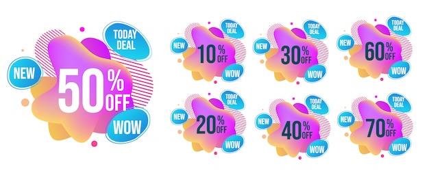 Set di tag vendita mega brillante astratta s