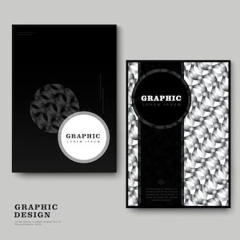 Modello astratto di brochure con elementi geometrici ripetitivi