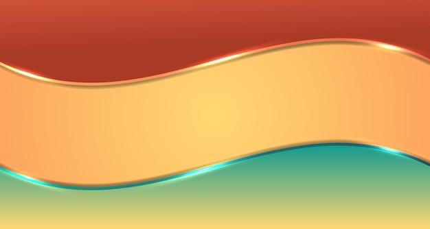 Strisce astratte dell'onda di gradiente marrone e verde con effetto di illuminazione bagliore su sfondo giallo spazio per il testo