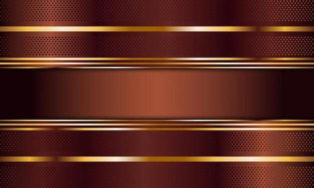 Strisce metalliche marroni astratte con sfondo di linee dorate illustrazione vettoriale