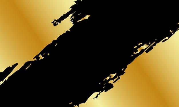 Colore astratto della vernice della spazzola dell'oro su fondo nero. progetta per il tuo sito web.