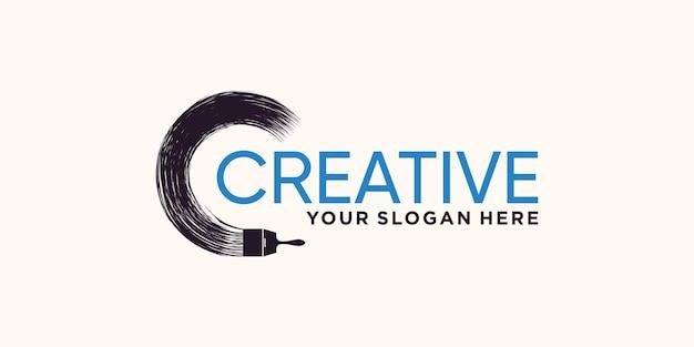 Design astratto del logo del tratto di pennello con un concetto moderno e creativo vettore premium