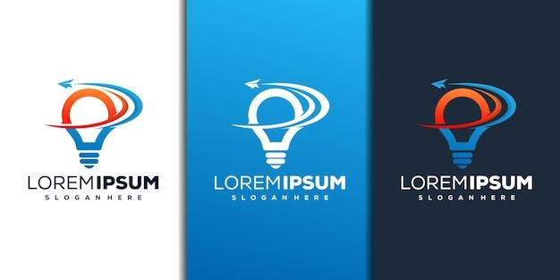 Design del logo astratto della lampadina e dell'aereo di carta