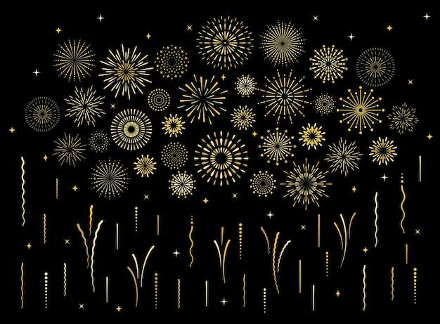 Insieme astratto dei fuochi d'artificio del modello dell'oro di scoppio. collezione di modelli di fuochi d'artificio isolati a forma di stella art deco