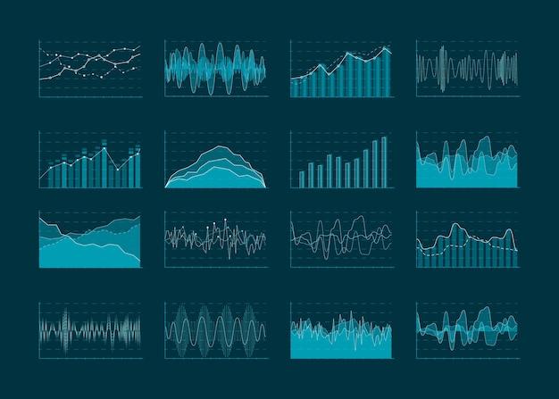 Analitica aziendale astratta e diagrammi statistici. dati statistici grafico finanziario concetto, grafico e trama infografica. illustrazione