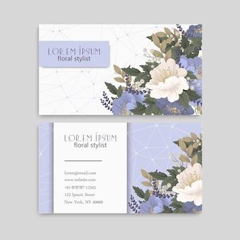 Modello astratto di biglietti da visita con fiori blu