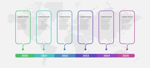 Modello astratto di infografica aziendale con 6 passaggi sui diagrammi della sequenza temporale