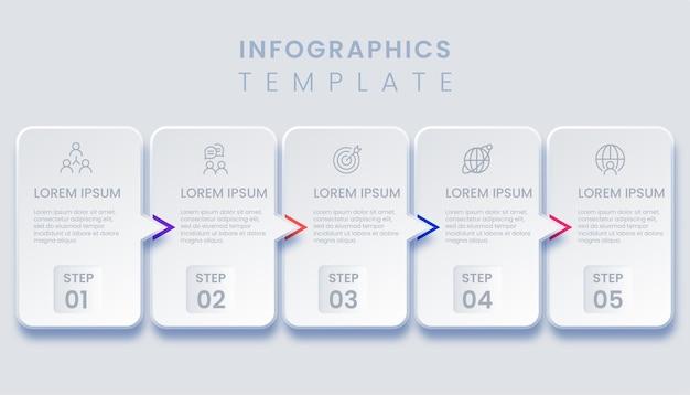 Abstract business infografica con cinque opzioni di illustrazione
