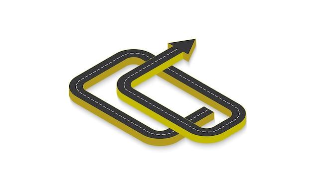 Infografica aziendale astratta sotto forma di una strada automobilistica con segnaletica orizzontale. env 10.