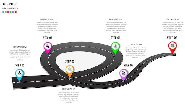 Infographics astratto di affari sotto forma di una strada automobilistica con segnaletica orizzontale, marcatori