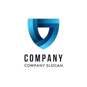 Logo aziendale astratto a forma di scudo