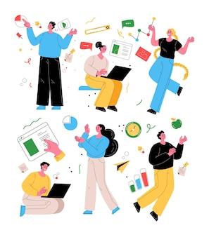 La gente di affari astratta uomo donna caratteri ha isolato l'attività set vector piatto isolato stile moderno illustrazione modern