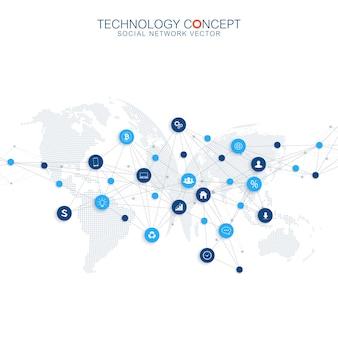 Infografica astratta di vettore di affari. progettazione del concetto di cloud computing e connessioni di rete globale. modello di business scientifico con icone per brochure, diagramma, flusso di lavoro, timeline, web design.