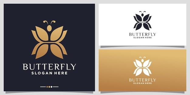 Disegno astratto del logo della farfalla con colore dorato in stile sfumato vettore premium