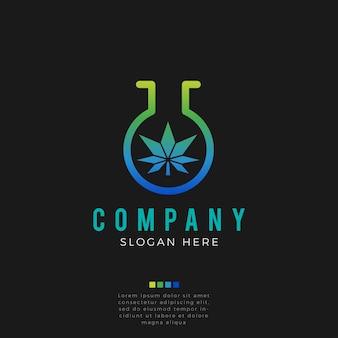 Logo astratto foglia di cannabis leb