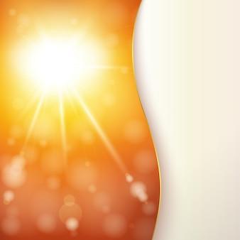 Carta astratta con sole splendente e luci bokeh