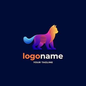 Logo astratto gatto stile sfumato per gli amanti di animali domestici e animali