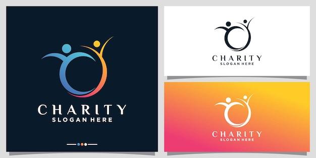 Modello astratto di logo della gente di vita di carità con stile di arte di linea vettore premium