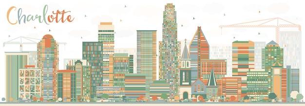 Orizzonte astratto di charlotte con edifici di colore. illustrazione di vettore. viaggi d'affari e concetto di turismo con architettura moderna. immagine per presentazione banner cartellone e sito web.