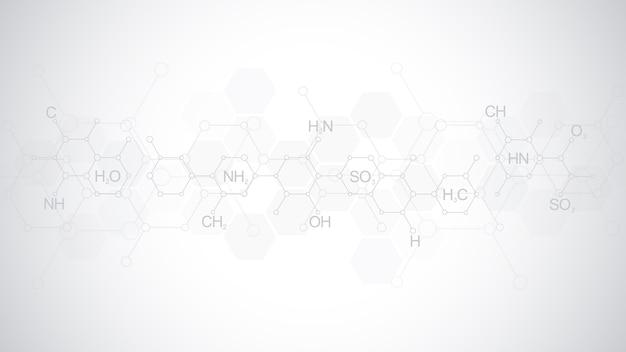 Modello astratto di chimica su sfondo grigio morbido con formule chimiche e strutture molecolari. modello con concetto e idea per la scienza e l'innovazione tecnologica.