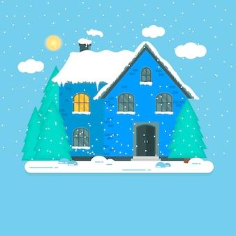 Sfondo astratto di natale con la foresta di casa invernale e fiocchi di neve bianchi scintillanti