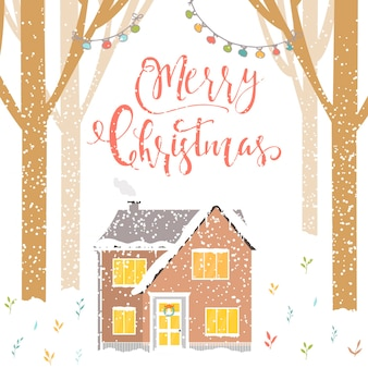 Sfondo astratto di natale con scritte nella foresta della casa invernale e fiocchi di neve bianchi scintillanti