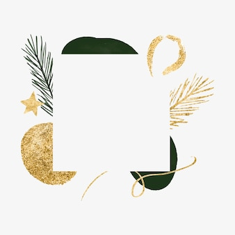Striscione minimalista natalizio astratto con biglietto di capodanno con ramo di abete a forma organica d'oro