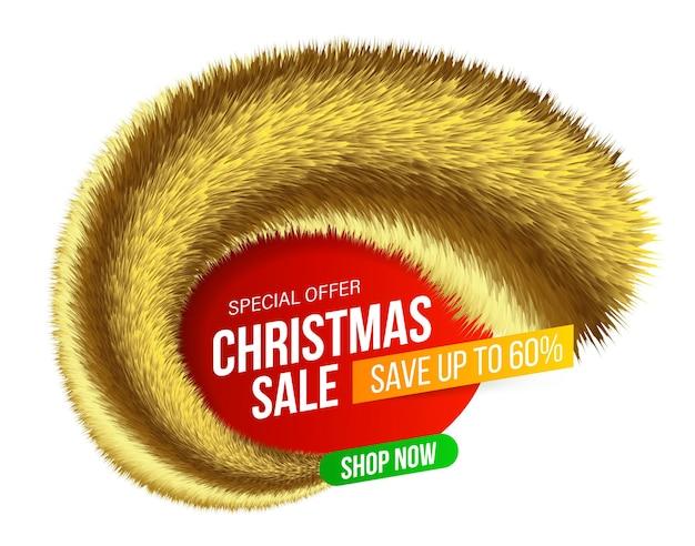 Bandiera astratta di vendita di natale con orpelli pelosi oro per offerte speciali