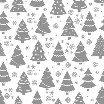 Modello senza cuciture astratto dell'albero di natale. struttura senza giunte di inverno con albero di abete e fiocchi di neve.