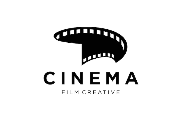 Modello di vettore di logo astratto cinema isolato su sfondo bianco